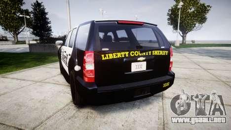 Chevrolet Tahoe 2013 County Sheriff [ELS] para GTA 4 Vista posterior izquierda