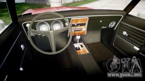 Chevrolet Camaro Mk.I 1968 rims1 para GTA 4 vista hacia atrás