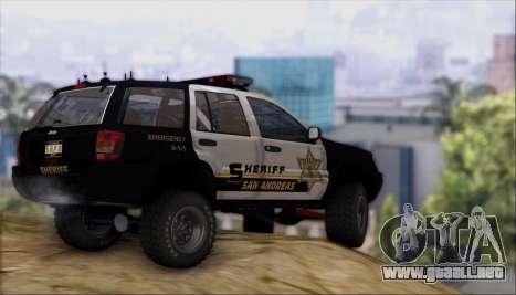 Jeep Grand Cherokee 1999 Sheriff para visión interna GTA San Andreas