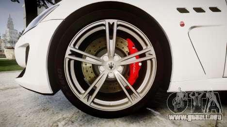 Maserati GranTurismo MC Stradale para GTA 4 vista hacia atrás