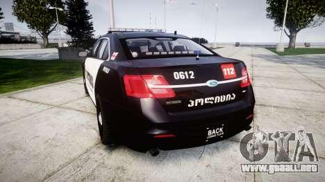 Ford Taurus 2013 Georgia Police [ELS] para GTA 4 Vista posterior izquierda