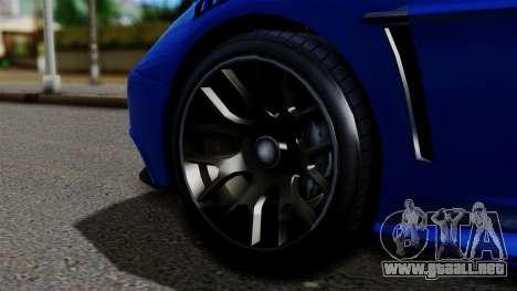 GTA 5 Dewbauchee Massacro Racecar para GTA San Andreas vista posterior izquierda