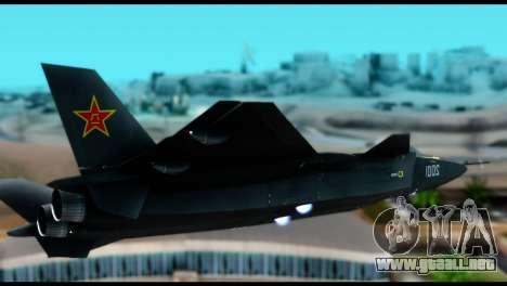 Chenyang J-20 BF4 para GTA San Andreas vista posterior izquierda