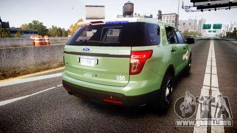 Ford Explorer 2013 Army [ELS] para GTA 4 Vista posterior izquierda