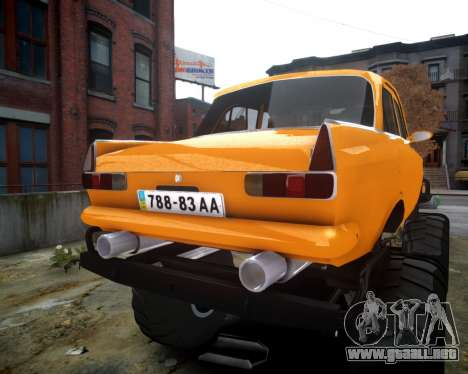 Moskvich 412 Monstruo para GTA 4 vista hacia atrás