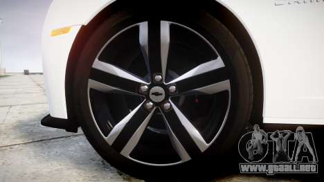 Chevrolet Camaro ZL1 2012 Redline para GTA 4 vista hacia atrás