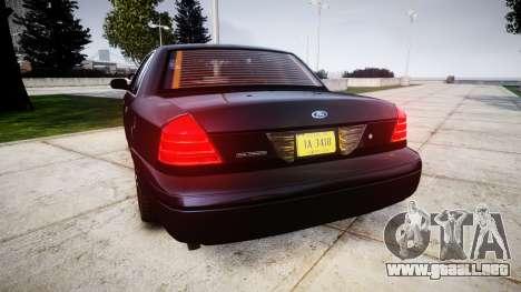 Ford Crown Victoria Police Interceptor [Retired] para GTA 4 Vista posterior izquierda