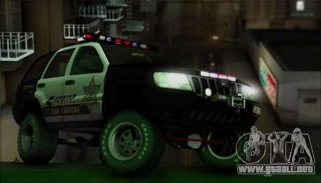 Jeep Grand Cherokee 1999 Sheriff para la vista superior GTA San Andreas