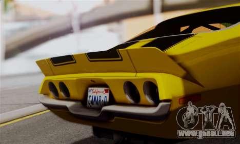 Chevrolet Camaro Mk.II para GTA San Andreas vista posterior izquierda