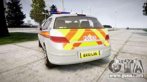 Vauxhall Astra 2010 Police [ELS] Whelen Liberty para GTA 4 Vista posterior izquierda