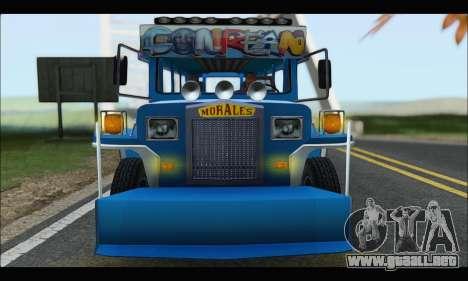 Jeepney Morales para GTA San Andreas vista hacia atrás