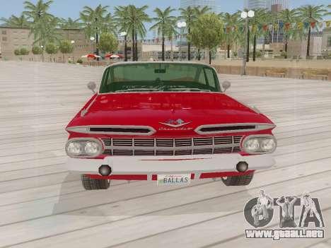 Chevrolet Impala 1959 para GTA San Andreas vista posterior izquierda
