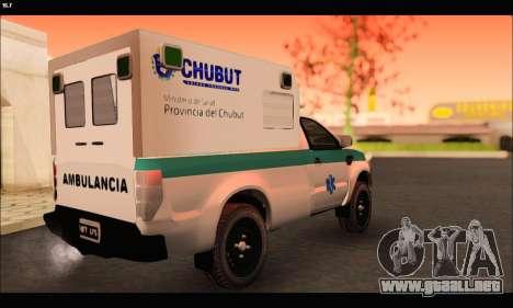 Ford Ranger 2013 Ambulancia Chubut para GTA San Andreas vista posterior izquierda