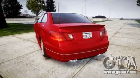 GTA V Benefactor Schafter body wide rims para GTA 4 Vista posterior izquierda