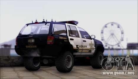 Jeep Grand Cherokee 1999 Sheriff para GTA San Andreas left