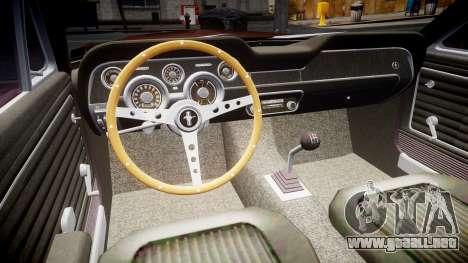 Ford Mustang GT Fastback 1968 para GTA 4 vista hacia atrás