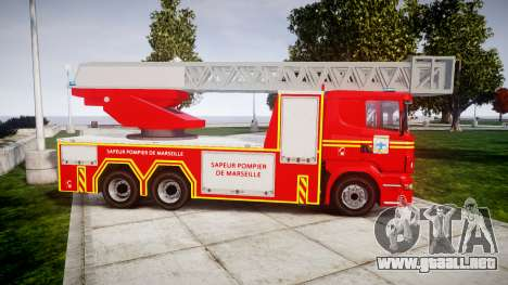 Scania R580 Marseille Fireladder [ELS] para GTA 4 left