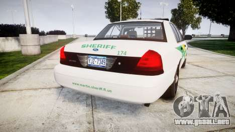 Ford Crown Victoria Martin County Sheriff [ELS] para GTA 4 Vista posterior izquierda