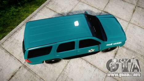 Chevrolet Tahoe 2013 Game Warden [ELS] para GTA 4 visión correcta