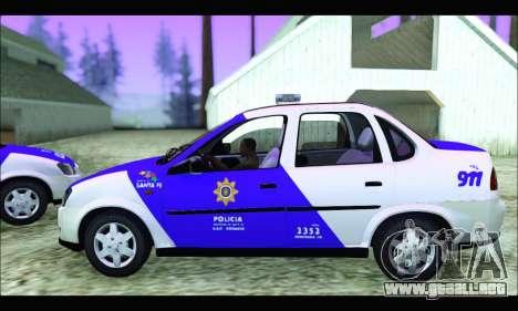 Chevrolet Corsa Classic Policia de Santa Fe para GTA San Andreas vista posterior izquierda