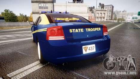 Dodge Charger West Virginia State Police [ELS] para GTA 4 Vista posterior izquierda