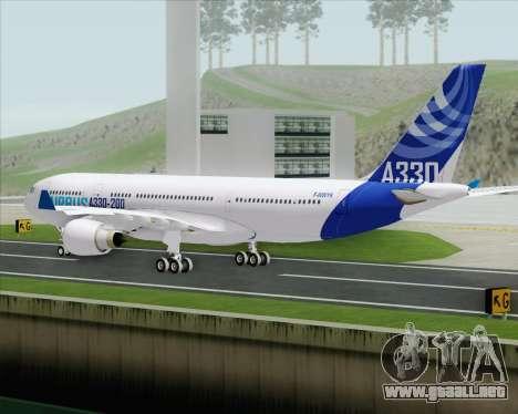 Airbus A330-200 Airbus S A S Livery para GTA San Andreas vista hacia atrás