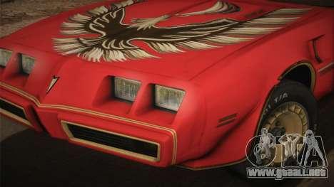 Pontiac Turbo Trans Am 1980 Bandit Edition para GTA San Andreas vista posterior izquierda