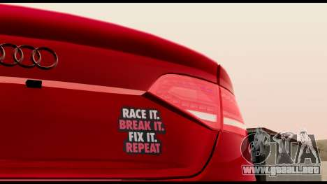 Audi S4 2010 Blacktop para GTA San Andreas vista hacia atrás