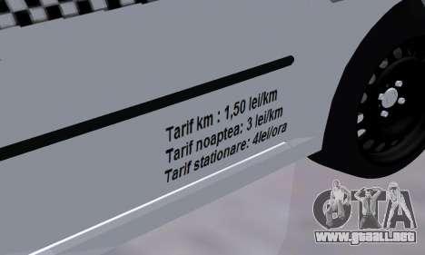 Dacia Logan Taxi para vista lateral GTA San Andreas
