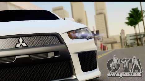 Mitsubishi Lancer X RE-Racing Edition para GTA San Andreas vista hacia atrás