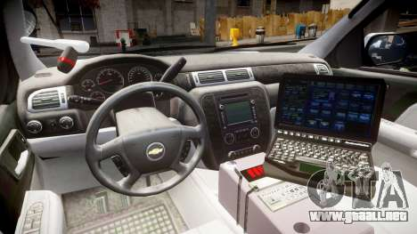 Chevrolet Tahoe 2010 Sheriff Bohan [ELS] para GTA 4 vista hacia atrás