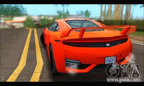 Dinka Jester Racecar (GTA V) para GTA San Andreas vista hacia atrás
