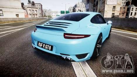 RUF RGT8 2014 para GTA 4 Vista posterior izquierda