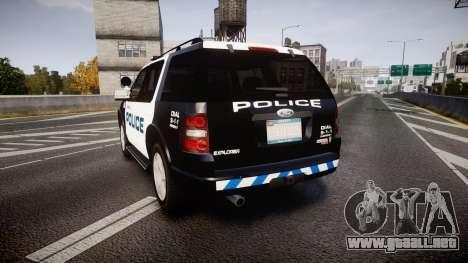 Ford Explorer 2008 Police [ELS] para GTA 4 Vista posterior izquierda