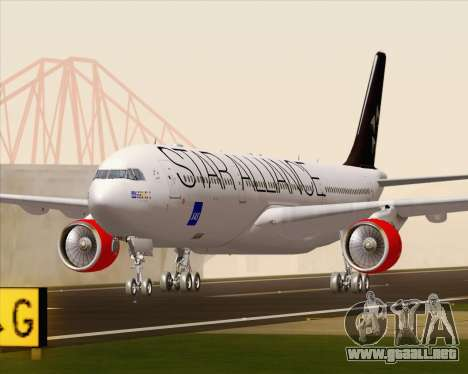 Airbus A330-300 SAS Star Alliance Livery para GTA San Andreas left