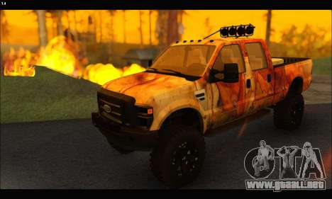 Ford F-250 Rusty Lifted 2010 para GTA San Andreas vista posterior izquierda