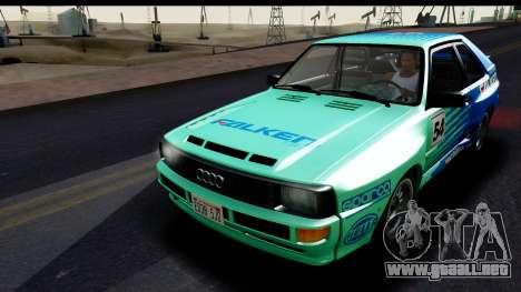 Audi Sport Quattro B2 (Typ 85Q) 1983 [HQLM] para vista lateral GTA San Andreas