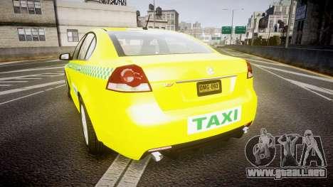 Holden Commodore Omega Series II Taxi v3.0 para GTA 4 Vista posterior izquierda