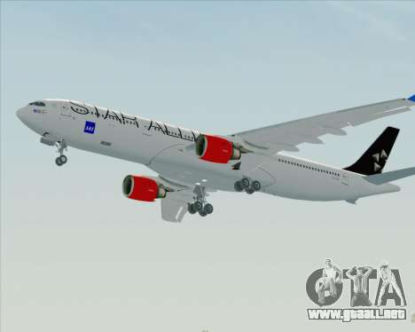 Airbus A330-300 SAS Star Alliance Livery para GTA San Andreas vista hacia atrás