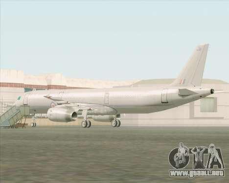 Airbus A321-200 Royal New Zealand Air Force para GTA San Andreas vista posterior izquierda