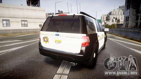 Ford Expedition 2010 Sheriff [ELS] para GTA 4 Vista posterior izquierda