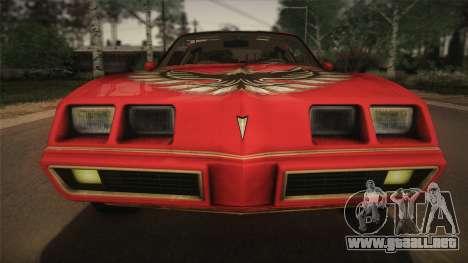 Pontiac Turbo Trans Am 1980 Bandit Edition para GTA San Andreas vista hacia atrás