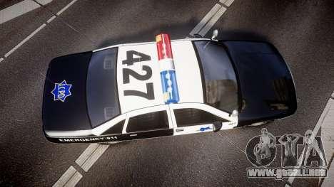 Chevrolet Caprice 1990 LCPD [ELS] Patrol para GTA 4 visión correcta