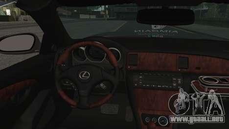 Lexus SC430 para GTA San Andreas vista hacia atrás