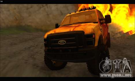 Ford F-250 Rusty Lifted 2010 para visión interna GTA San Andreas