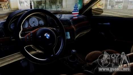 BMW M3 E46 Sport PG para GTA San Andreas vista posterior izquierda