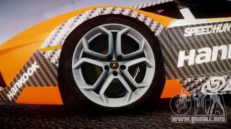 Lamborghini Aventador 2012 [EPM] Hankook Orange para GTA 4 vista hacia atrás