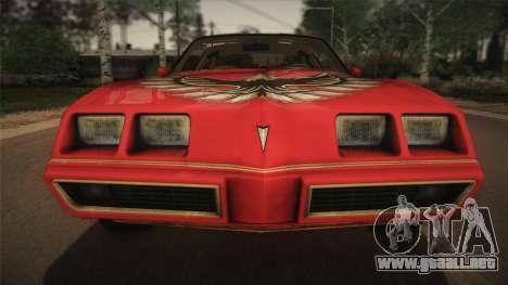 Pontiac Turbo Trans Am 1980 Bandit Edition para visión interna GTA San Andreas