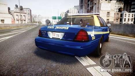 Ford Crown Victoria Virginia State Police [ELS] para GTA 4 Vista posterior izquierda