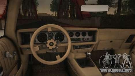 Pontiac Turbo Trans Am 1980 Bandit Edition para la visión correcta GTA San Andreas
